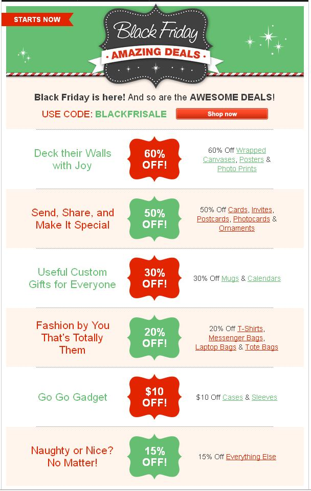 Zazzle Black Friday Deals 2012