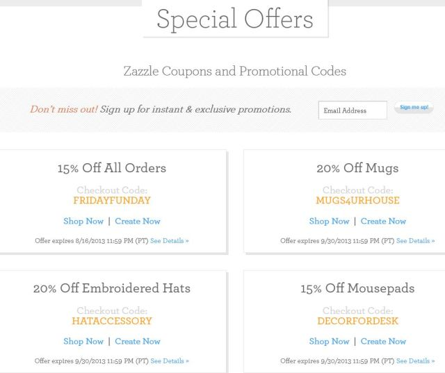 Zazzle Special Offers