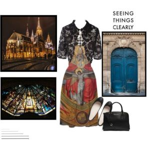 "Seeing Things Clearly @ Polyvore ""Seeing Things Clearly"" - going to Church on a Sunday. #fashion #sunday #church #rosary #dress #dressup #holymass #paom #printalloverme"