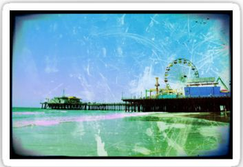 Blue Santa Monica Pier Stickers