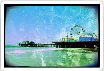 Blue Santa Monica Pier Stickers