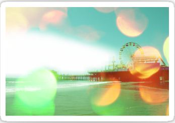 Santa Monica Pier Green Orange Stickers