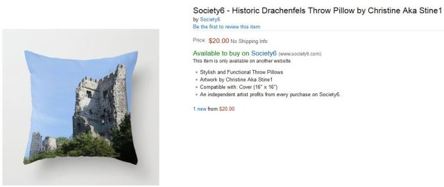 Historic Drachenfels Throw Pillow by Christine Aka Stine1 by Society6