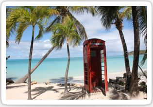 Red public Telephone Booth on Antigua Stickers