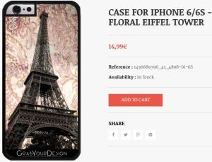 Case for Iphone 6/6S - Floral Eiffel Tower
