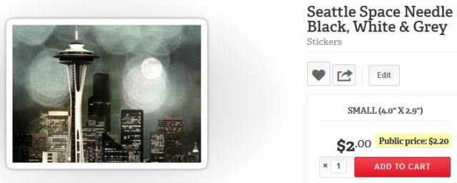Seattle Space Needle Black, White & Grey Stickers by Christine aka stine1 on Redbubble