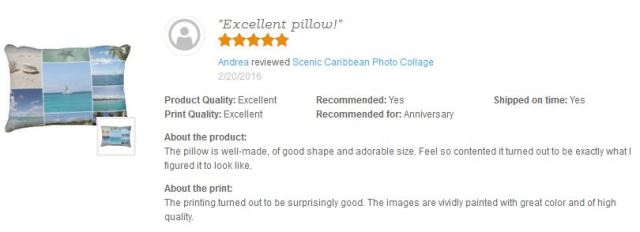 Thank you Andrea for this awesome review of my Scenic Caribbean Photo Collage Pillow on Zazzle :-)