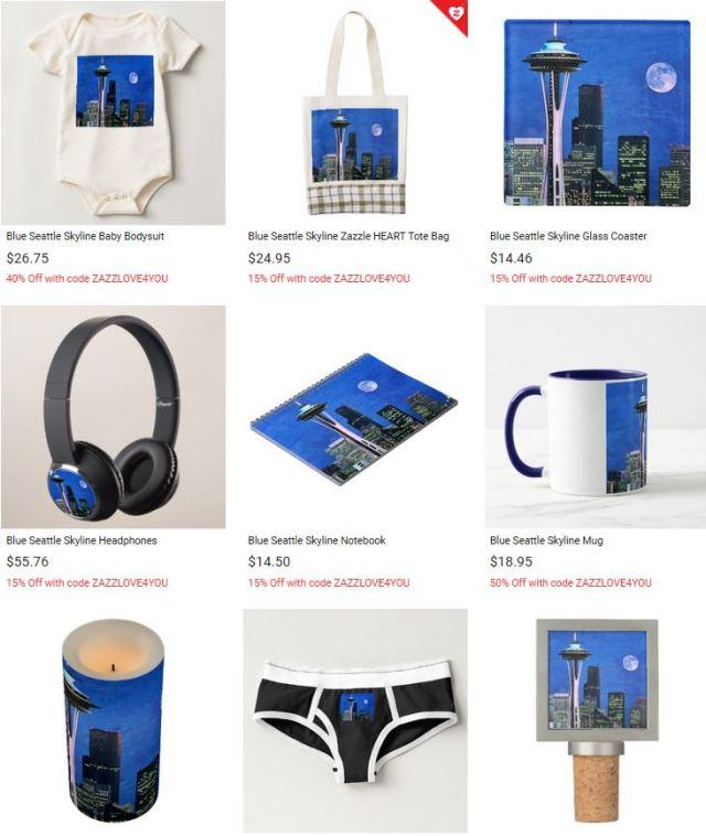 Blue Seattle Skyline with Space Needle by stine1 on Zazzle