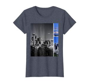 eattle Travel Souvenirs by Christine aka stine1: Downtown Seattle Skyline Shades of Grey and Blue T-Shirt in Heather Blue