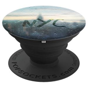 Rainy Day in NYC faux water droplets and Skyline - PopSockets Grip and Stand for Phones and Tablets by NYC travel souvenir gifts by Christine aka stine1