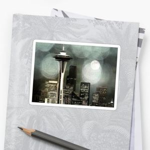 Seattle Space Needle Black, White & Grey by stine1 on Redbubble with the usual POD products like pillows, t-shirts, stickers and cases.