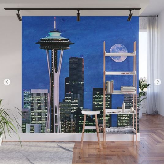 Seattle Wall Mural by stine1 on Society6 to cheer up your boring living room