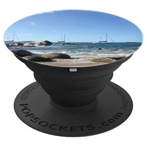 BVI Sailing Boats anchoring off Virgin Gorda Beach - PopSockets Grip and Stand for Phones and Tablets by BVI British Virgin Islands Souvenirs and Gifts