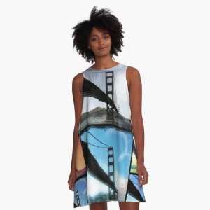 Golden Gate Bridge Collage A-line Dress by Christine aka stine1 on Redbubble