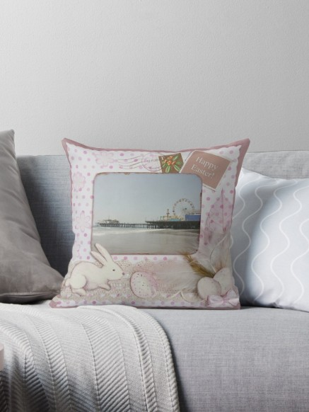 Happy Easter Santa Monica Pier Greeting Pillow by Christine aka stine1 on Redbubble