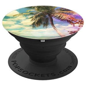Isla Saona Caribbean Prismatic Palm Tree digital Artwork - PopSockets Grip and Stand for Phones and Tablets