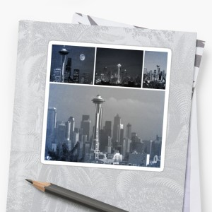 Grey Seattle Space Needle Collage Stickers by Christine aka stine1 on Redbubble