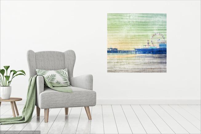 Leinwand Santa Monica Pier - grün grau - Christine aka stine1 auf OhMyPrints