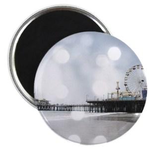 Grey Sparkling Pier Round Magnet