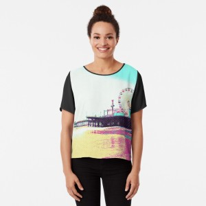 Prismatic Dots Santa Monica Pier Chiffon Top on Redbubble