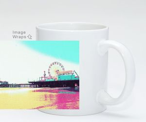 Prismatic Dots Santa Monica Pier Coffee Mug on ArtPal