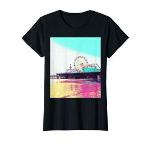 Prismatic Dots Santa Monica Pier T-Shirt