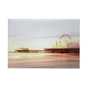 Santa Monica Pier Sunrise Round Rectangle Magnet