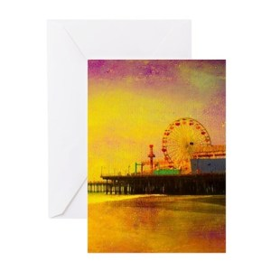 Yellow Santa Monica Pier Greeting Card