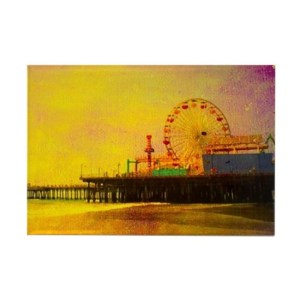 Yellow Santa Monica Pier Rectangle Magnet
