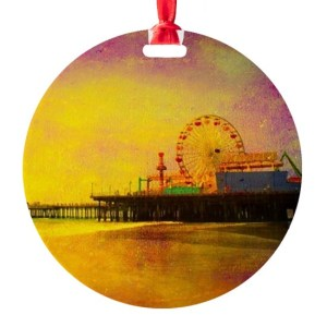 Yellow Santa Monica Pier Round Ornament