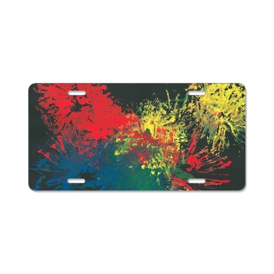 Impulsive Color Splash Aluminum License Plate on Cafepress
