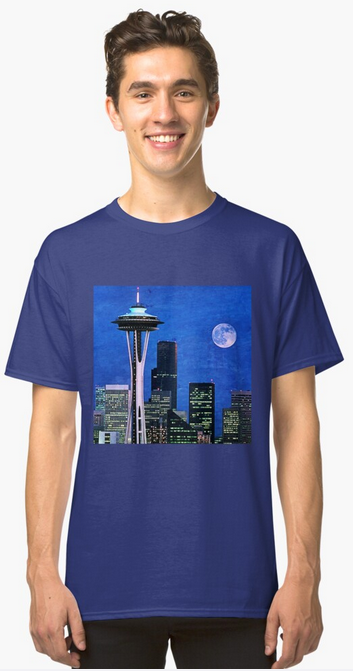 Blue Seattle Space Needle classic t-shirt by Christine aka stine1 on Redbubble