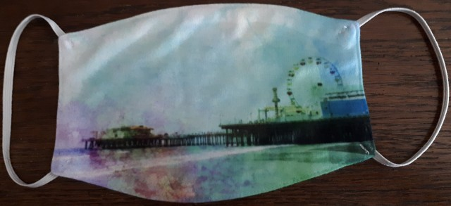 Crinkly Tie-Dye Santa Monica Pier Mask Designed by stine1