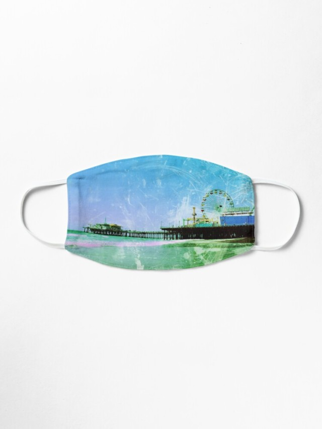 Blue Santa Monica Pier Cloth Face Mask by Christine aka stine1 on Redbubble