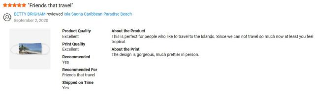 Zazzle product review: Isla Saona Caribbean Paradise Beach Cloth Face Mask