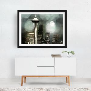 Grey Seattle Space Needle Framed Canvas by Christine aka stine1 on Noir Gallery