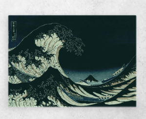 "Great Wave at Night  Digital artwork based on famous Japanese art piece ""Great Wave off Kanagawa"" by Hokusai, transferring the popular topic into the night."