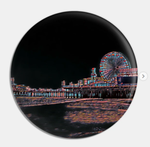 Stained Glass Santa Monica Pier Pin Santa Monica Design Pin  Designed and Sold by Christine aka stine1