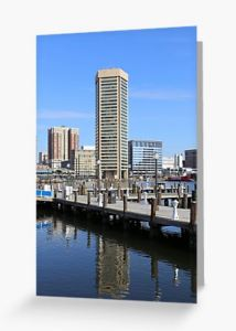 Baltimore's Inner Harbor and World Trade Center Greeting Card Designed by stine1