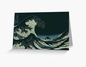 Hokusai Great Wave off Kanagawa at Night Greeting Card Designed by stine1