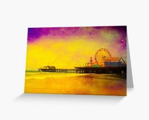 Yellow Purple Santa Monica Pier Greeting Card Designed by stine1