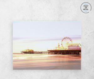 Santa Monica Pier Sunrise Metal Poster on Displate